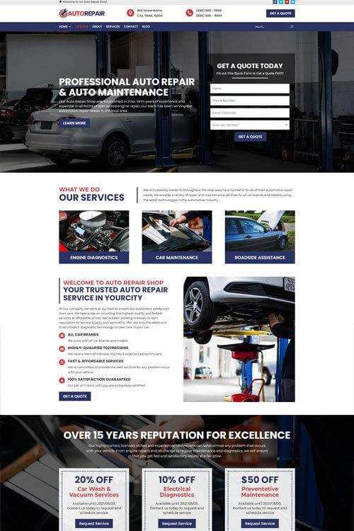 Website for auto repair